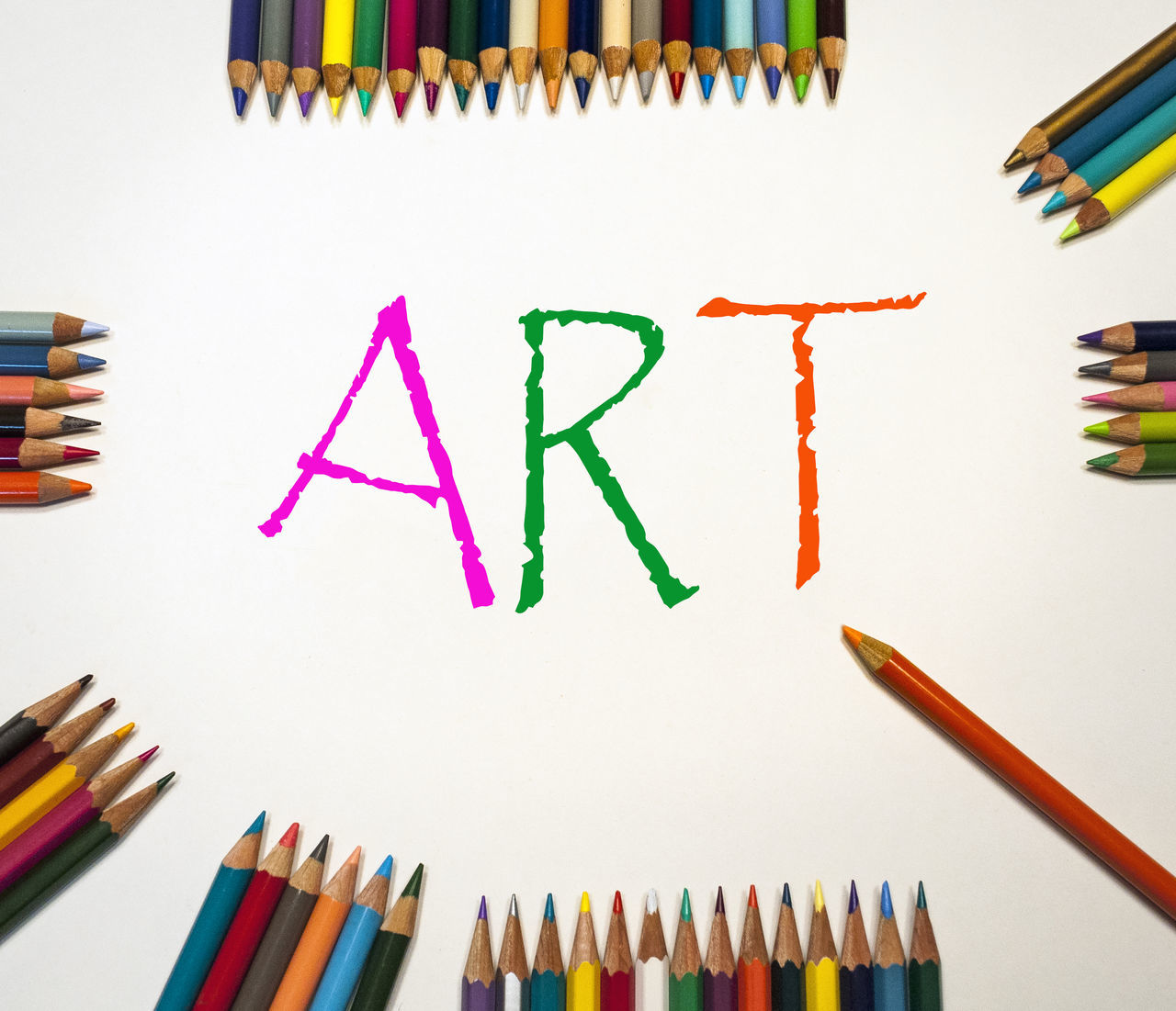 Art And Craft Arts Culture And Entertainment Close-up Colored Pencil Colorful Craft Drawing Education Indoors  Large Group Of Objects Multi Colored Office Supply Pencil Still Life Variation White Background