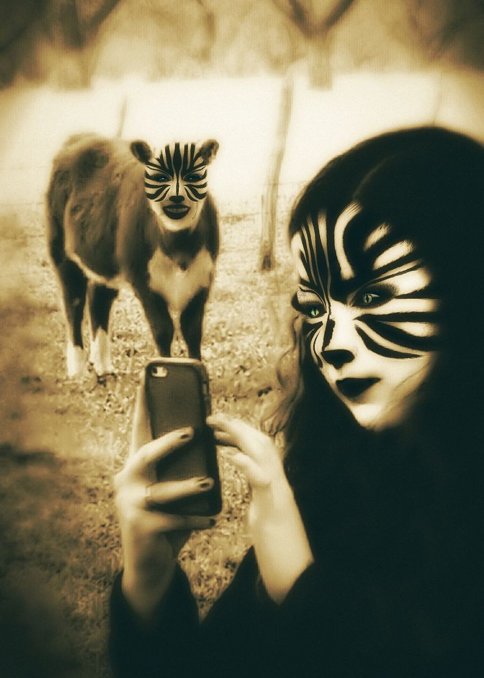 Cheese! Honduras Vacation Hi! Relaxing Enjoying Life Hello World I Have No Idea What Im Doing Wtf Lol Crazy Odd Surrealist Art Bizzare Surreal Monochromatic Cow Zebra Stripes IPhone Photography Selfie Portrait
