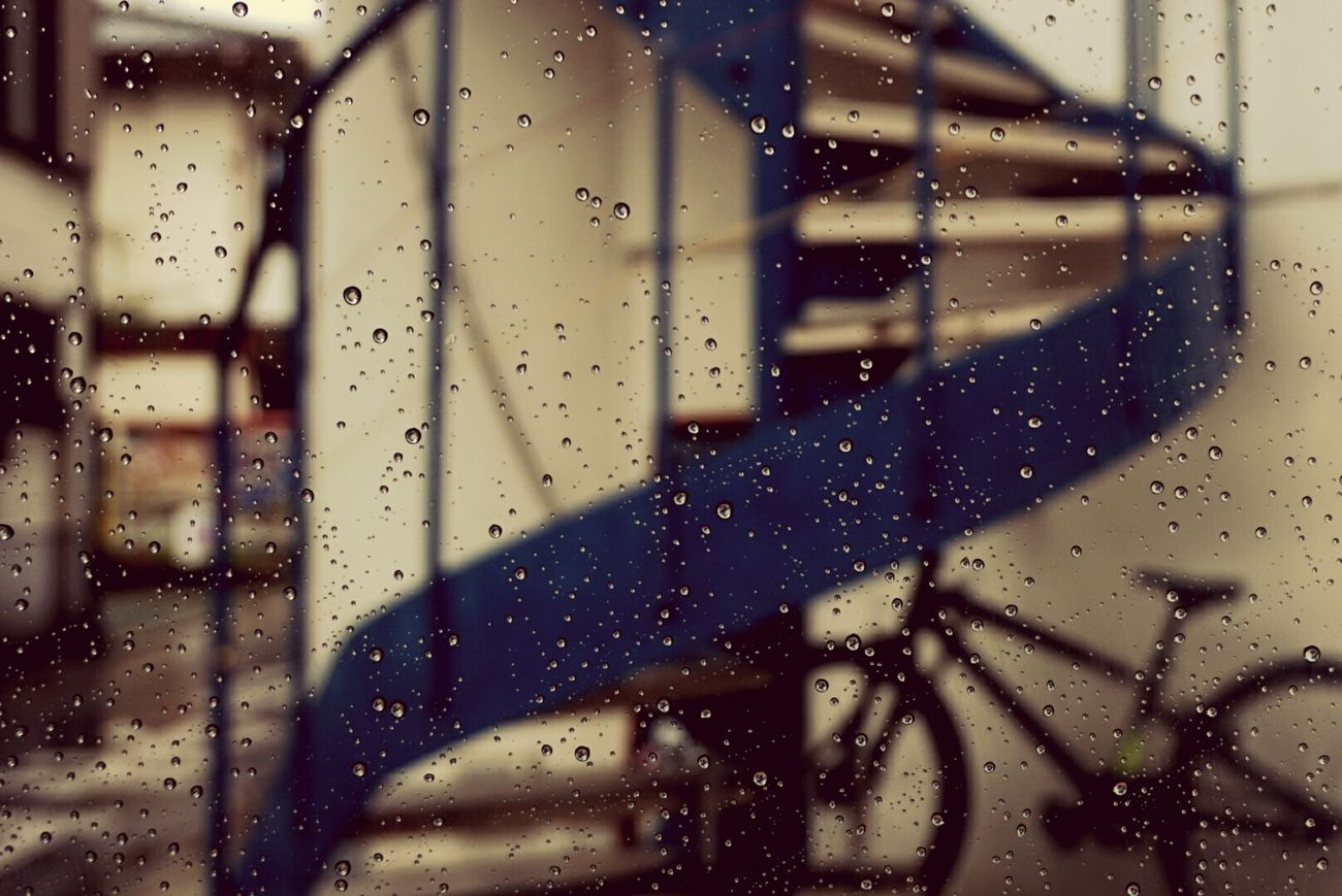 雨の日はカメラが濡れるのが不安で、あまり撮れないのがさみしいです。 Fukuoka,Japan Stairs Staircase Stairway Bicycle Bike Rany Day Raindrops Looking At Camera Streetphotography