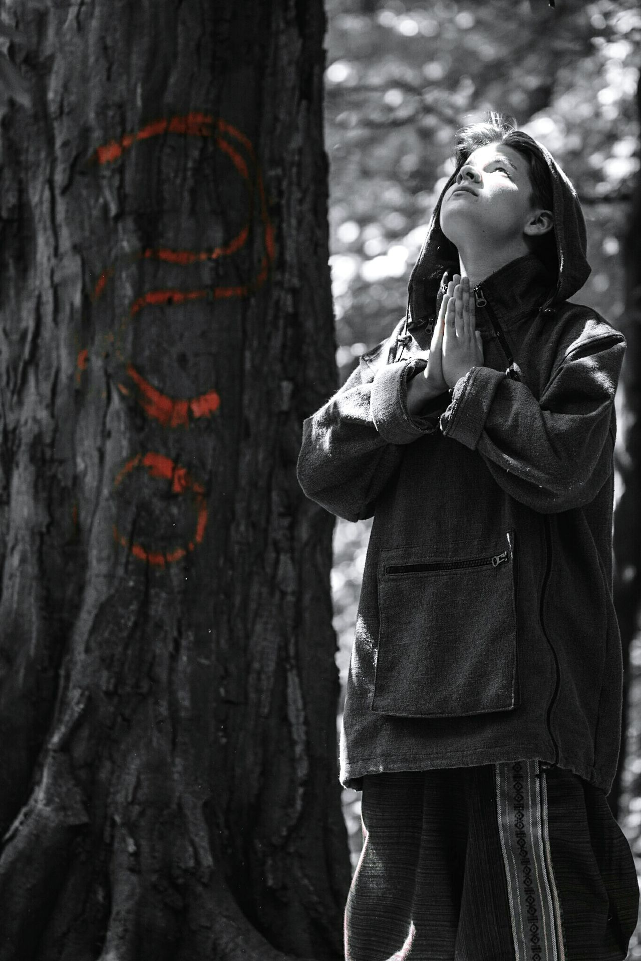 ~ Quo Vadis? ~ One Person Tree Tree Trunk Standing Forest Day Nature Women Young Adult Holding One Young Woman Only Outdoors People Only Women One Woman Only Light And Shadow In The Forest Lifestyles Life Getting Inspired Artistic Expression Question Meditation Belief Looking Up