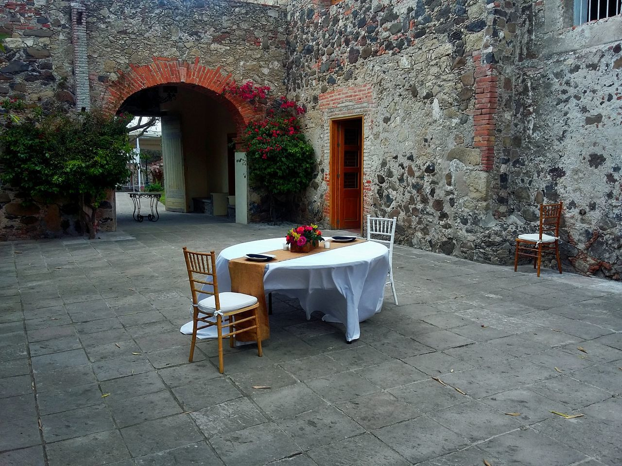 Table Mexico Dinner For Two Architecture Hacienda Stone Wall Taking Photos