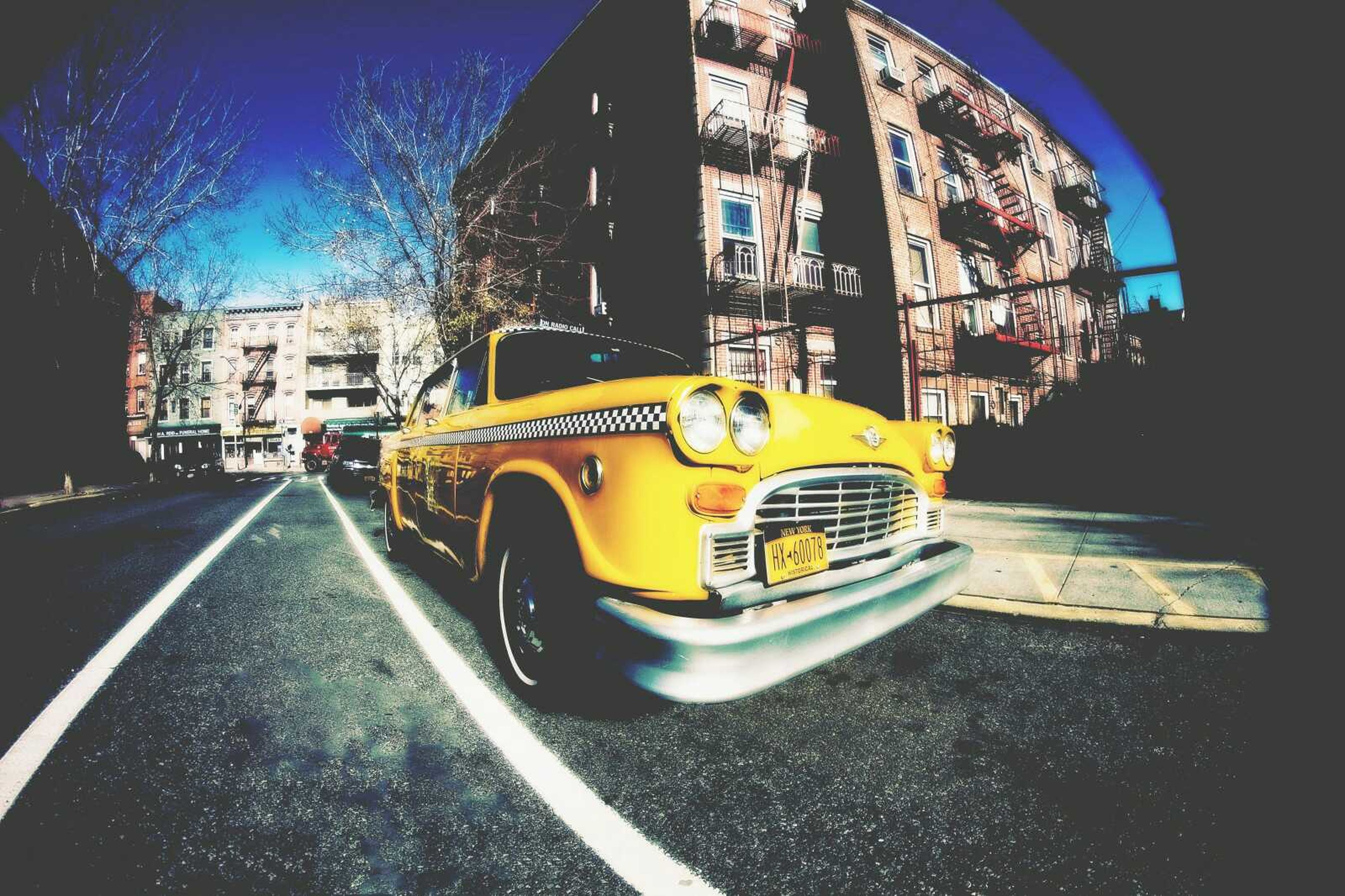 car, yellow, old-fashioned, transportation, city, yellow taxi, no people, outdoors, day