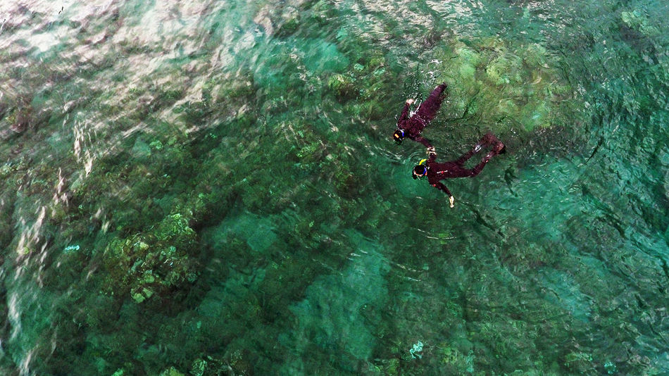 Adventure Aerial Shot Aerial View Couple Day Drone  Dronephotography High Angle View Leisure Activity Nature Outdoors People Real People Snorkeling UnderSea Water A Bird's Eye View Flying High Islands