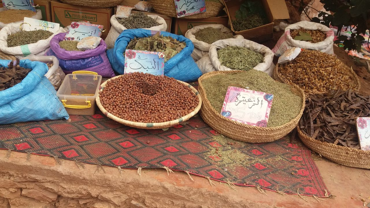 Cultures Day Domestic Life Large Group Of Objects Lifestyles Market Market Stall Morning Light Morocco Morroco No People Outdoors Ouzoud Ouzoud Falls Sack Solo Traveller Spice Vehicle Breakdown