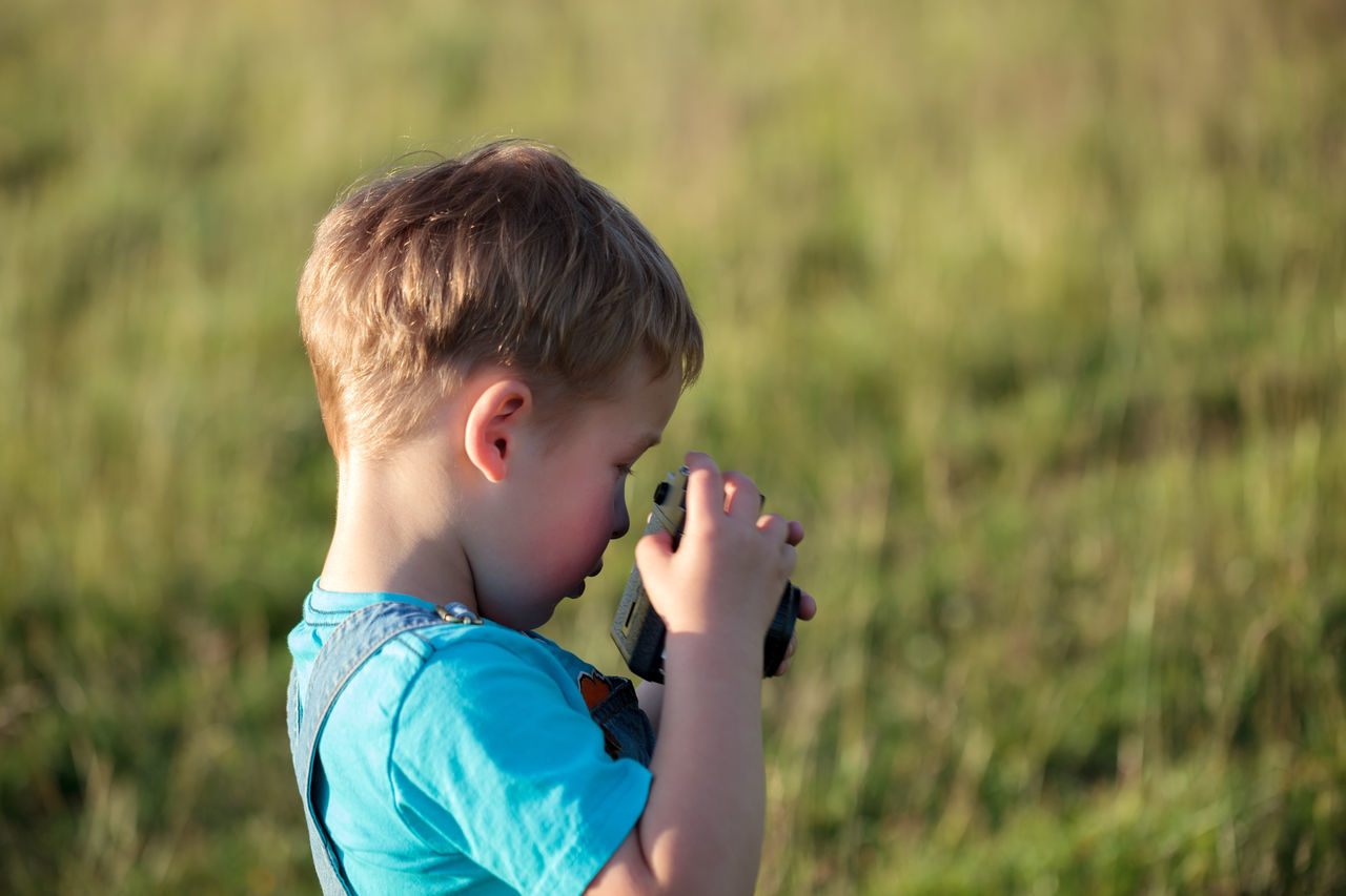 Boy Camera Caucasian Child Countryside Kid Little Outdoor Photo Photograph Photographer Photography Shooting Shot Take Picture Vintage Camera