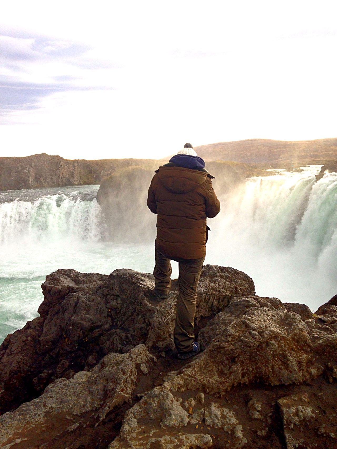 The Man With The Pompon Waterfall Iceland Beautiful