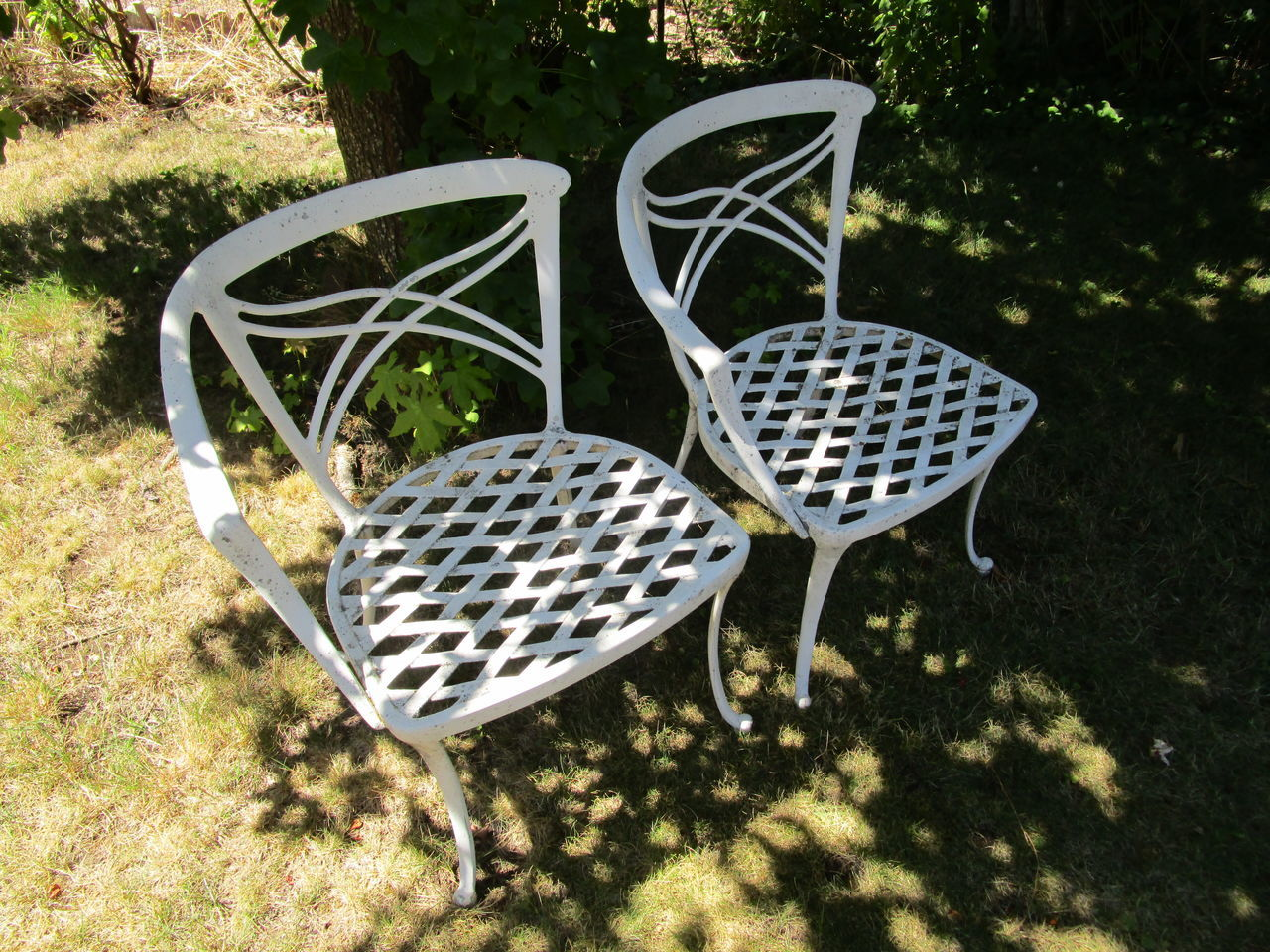 Day Diamond Pattern Flowing Lattice Pattern No People Old Chairs Outdoors Shadows Sunlight Sunny White Wrought Iron Yard