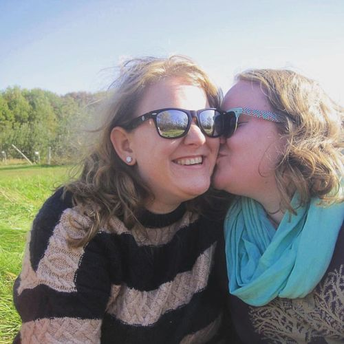 One of my absolute favorite pictures of my partner and I. This was taken on our anniversary, back in October. We were at a local apple orchard, and our friend snapped it for us. Loveislove Queerlove Gay Lgbt Lgbtq Lgbtqia Kiss