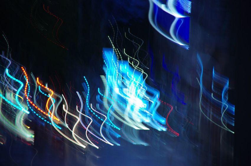 The Magic Mission Night Street Blue Light Trail Fire ブレ Light