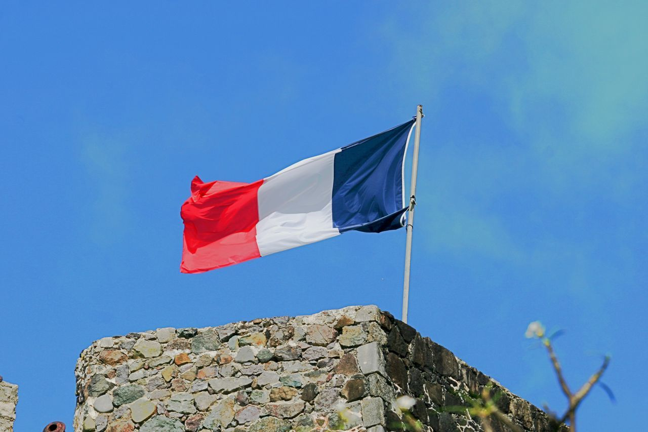 Trikolore Architecture Blue Clear Sky Day Flag Flag In The Wind French Flag Les Bleus Low Angle View No People Outdoors Patriotism Pride Red Sky