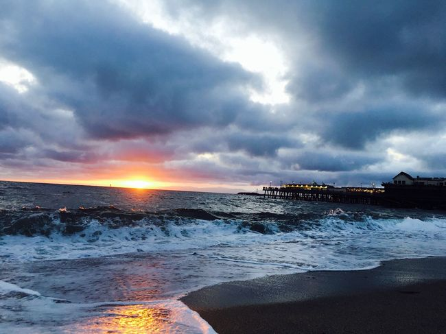 My Favorite Place california beach Sea Beach Surf Wave Cloud - Sky Horizon Over Water Beauty In Nature Sun Vacations Studyabroad Los Angeles, California Losangeles Erlangen