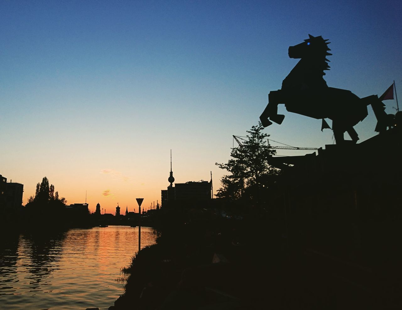 Silhouette Sunset Outdoors Sky Architecture Water Berlin Summer Views Summer Vibes Summer Time  Horse River Side Berlin Style Relaxed Moments Hanging The Great Outdoors - 2017 EyeEm Awards