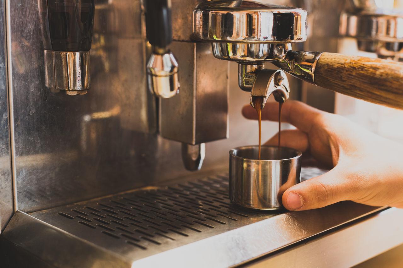 Coffee machine pouring espresso Barista Coffee Coffee - Drink Coffee Cup Coffee Handle Coffee Machine Day Drink Espresso Espresso Espresso Machine Espresso Maker Espresso Pour Food And Drink Freshness Grey Indoors  Silver  Wooden Handle