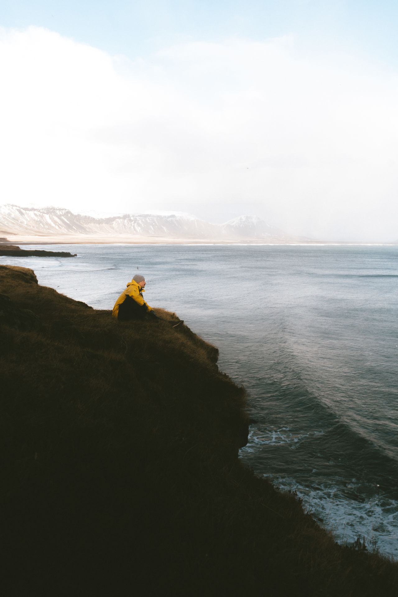 Iceland coast landscape with rough sea Beach Beauty In Nature Day Horizon Over Water Landscape Nature One Person Outdoors People Real People Scenics Sea Sky Tranquil Scene Tranquility Vacations Water Wave Live For The Story