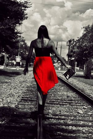 Red Full Length Tree Standing Getting Away From It All Day Relaxation Red Color Person Outdoors Tranquility Sky Focus On Foreground Tranquil Scene Railroad Track Books Dresses Colorsplash Backside Portrait