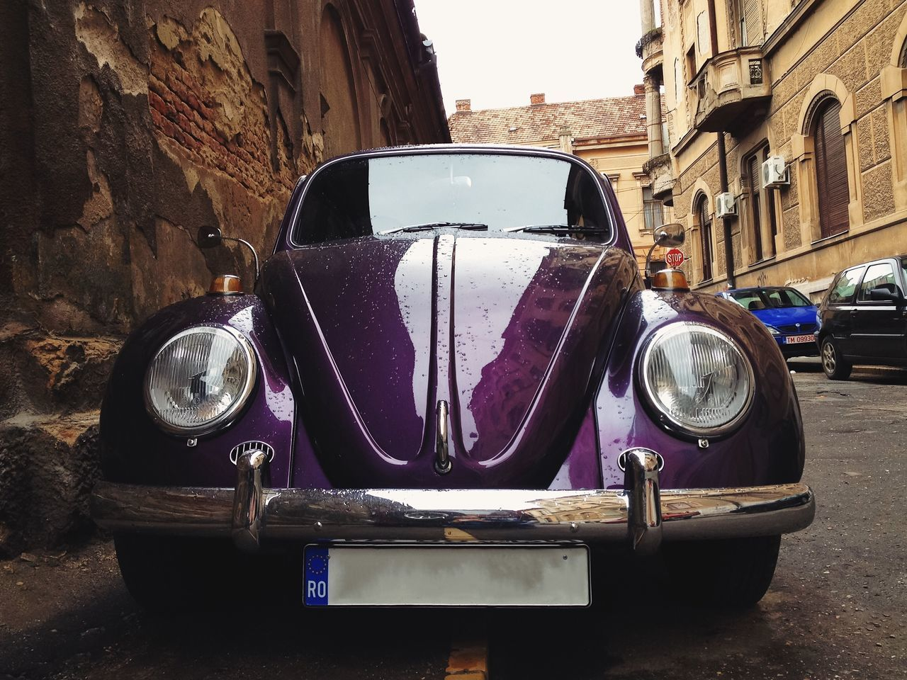 Vintage beauty... Old-fashioned Land Vehicle Transportation Stationary Collector's Car Beetle Volkswagen Beetle My Favorite Photo Details Of My Life Fresh On Eyeem  Found On The Roll Made In Romania Auto Automotive Automobile Car Purple Vscocam Close-up City Urban Reflection VSCO Vintage Cars Vintage Car