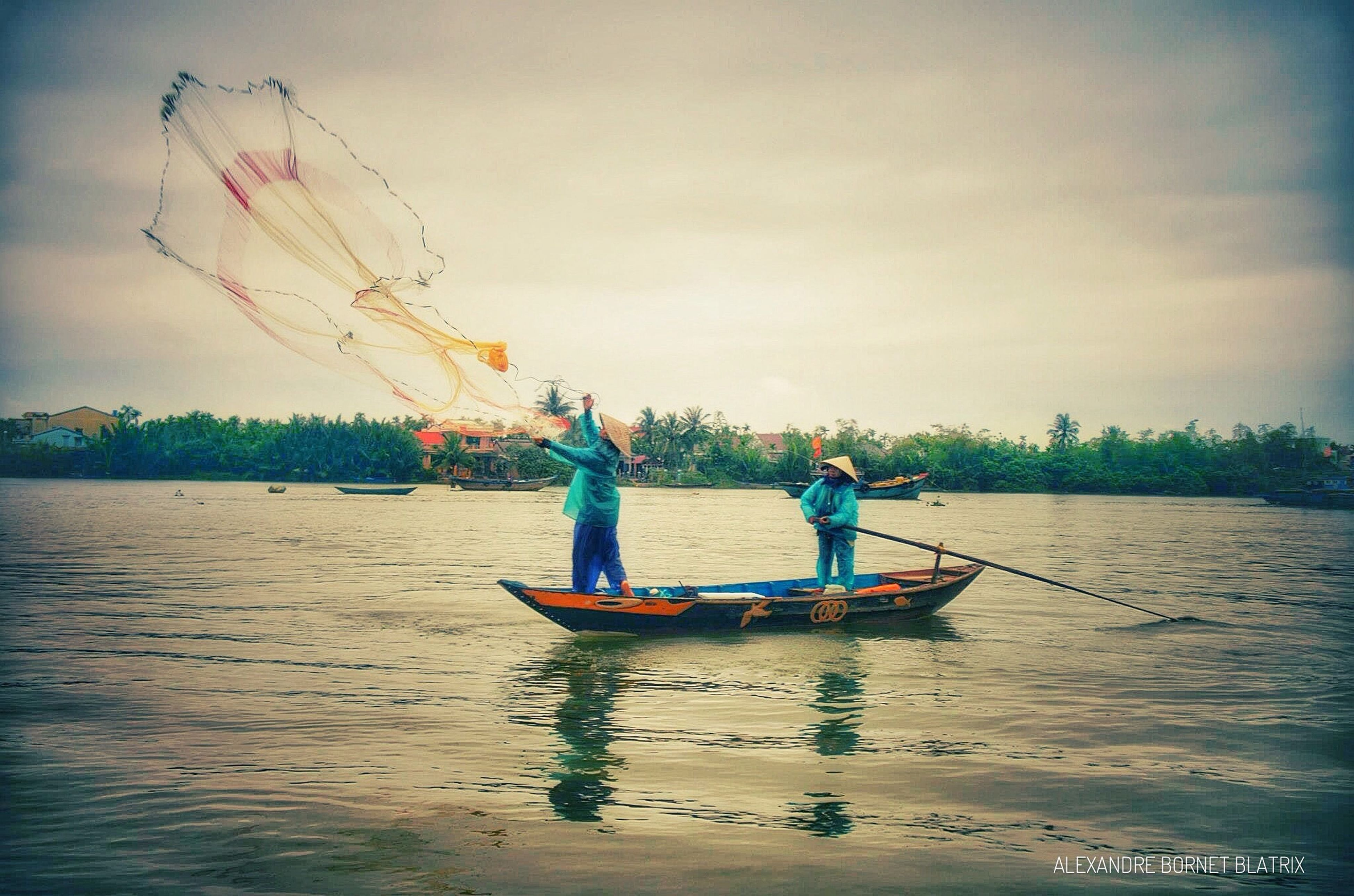 transportation, nautical vessel, water, men, mode of transport, boat, leisure activity, river, lifestyles, lake, sky, waterfront, cloud - sky, nature, day, scenics, sailing, outdoors, non-urban scene, tranquil scene, tranquility