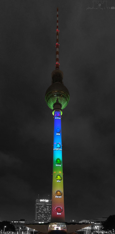 El Torre de Colores Berlin My Fuckin Berlin Berliner Ansichten City Berlin Mitte City Lights Night Lights Illumination Landmark Festival Of Lights Festival Of Lights 2016 Architecture Cityscape Color Key TV Tower