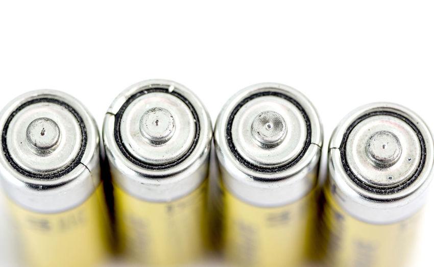 batteries Alcaline  Alkaline Alkaline Battery Battery Close-up Energy Four No People Volt Yellow