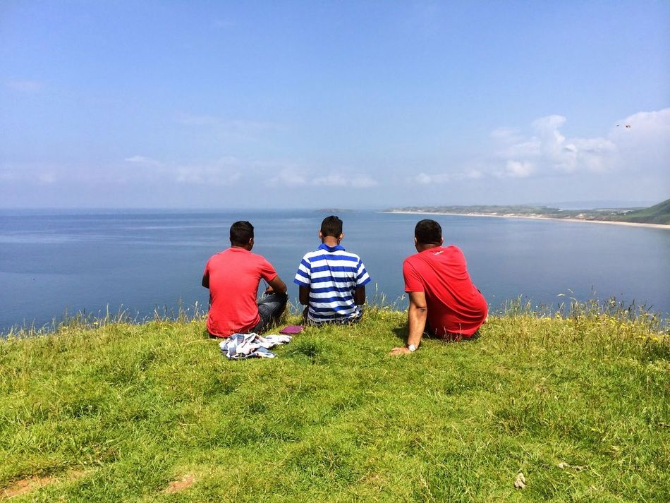 Swansea Beach Blue Water Green Color Grass Breathless View Peace And Quiet HillTopView No Pollution Clear Sky 3 Boys Red Colour Clean Air White Clouds Close To Nature End Of Land Summer ☀ Ocean Blue Sky
