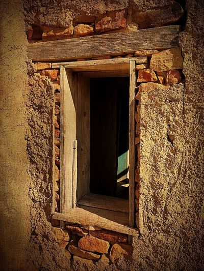 """""""Mystery Ranch No. 24"""" Follow The Light. Newmexicophotography New Mexico Weathered Adobe Stone Light And Shadow Light Mystery Abandoned Buildings Abandoned Places Abandoned Windows Architecture Built Structure Window No People"""