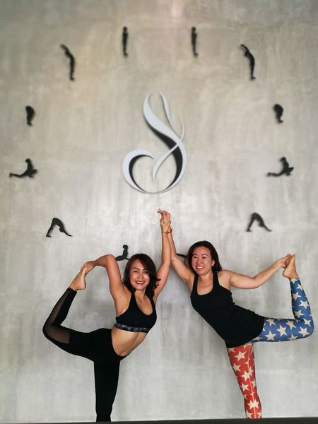 Two People Adult Adults Only Portrait Looking At Camera People Togetherness Indoors  Young Adult Stretching Yoga Yoga Pose Yogagirl Healthy Lifestyle Yogaeverydamnday Yogalove Relaxation Exercise Young Women Standing Flexibility Yogaeverywhere Lifestyles Balance Yogalife Exercising