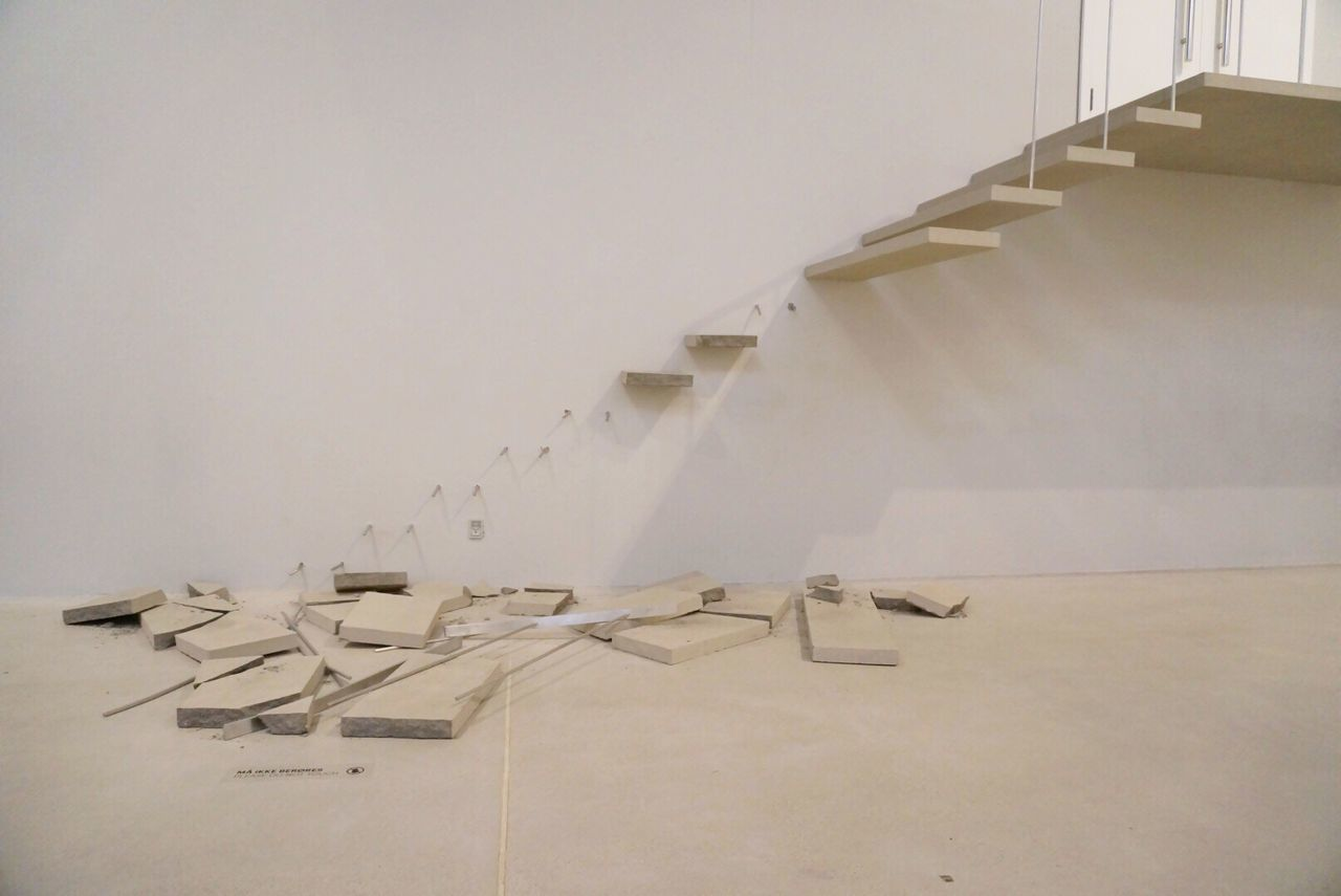 Stairs Staircase Stairways Broken Architecture Architecture_collection Architectural Detail Architecturelovers Art ArtWork Art And Craft Museum Arken Denmark Ishøj Art Gallery Instillation Textures And Surfaces Oops! Concrete Museum Of Modern Art Lookingup Color Palette Color Pallette Dramatic Angles