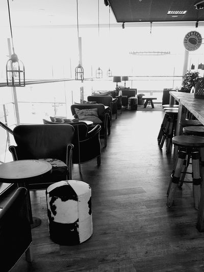Indoors  Business Finance And Industry Day Technology No People Blackandwhite Photography Chair Table Bar - Drink Establishment Cafe Coffee House Coffee Time Espresso House The Week On EyeEm