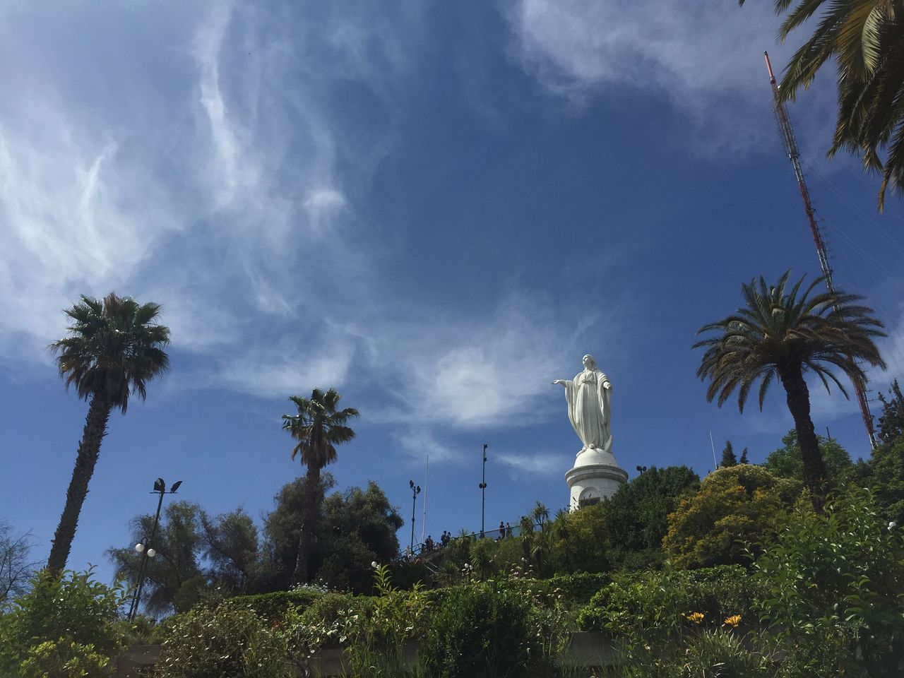 Beauty In Nature Cerro San Cristóbal Chile Christ Cloud - Sky Day EyeEmNewHere Female Likeness Human Representation Low Angle View Male Likeness Nature No People Outdoors Palm Tree Sculpture Sky Statue Travel Travel Destinations Tree Virgin Mary EyeEmNewHere Neighborhood Map