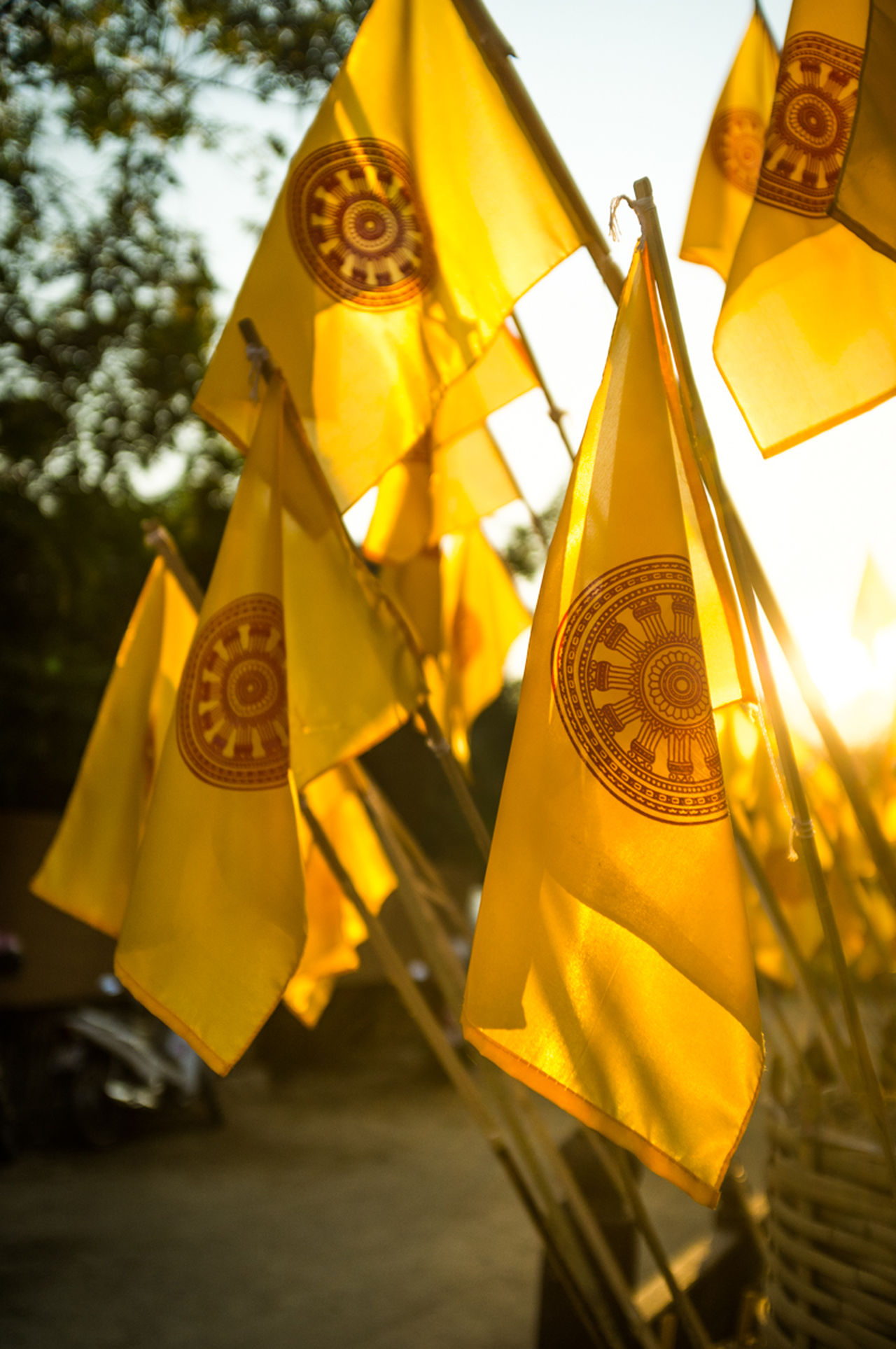 Buddism Day Flame Gold Colored Ingot Karma Light Orange Outdoors Peace Sky Sun Sun Rays Sunset Yellow