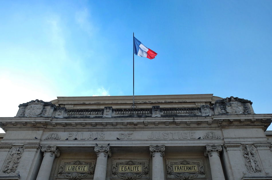 La Tricolore Architectural Column Architecture Building Exterior Built Structure City Day Flag French Flag French Values Low Angle View No People Outdoors Patriotism Sky Tricolor