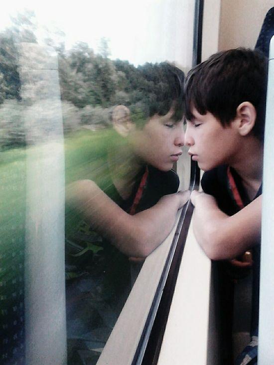 Liepnitzsee Train Reflection Children Bln hola desconocido