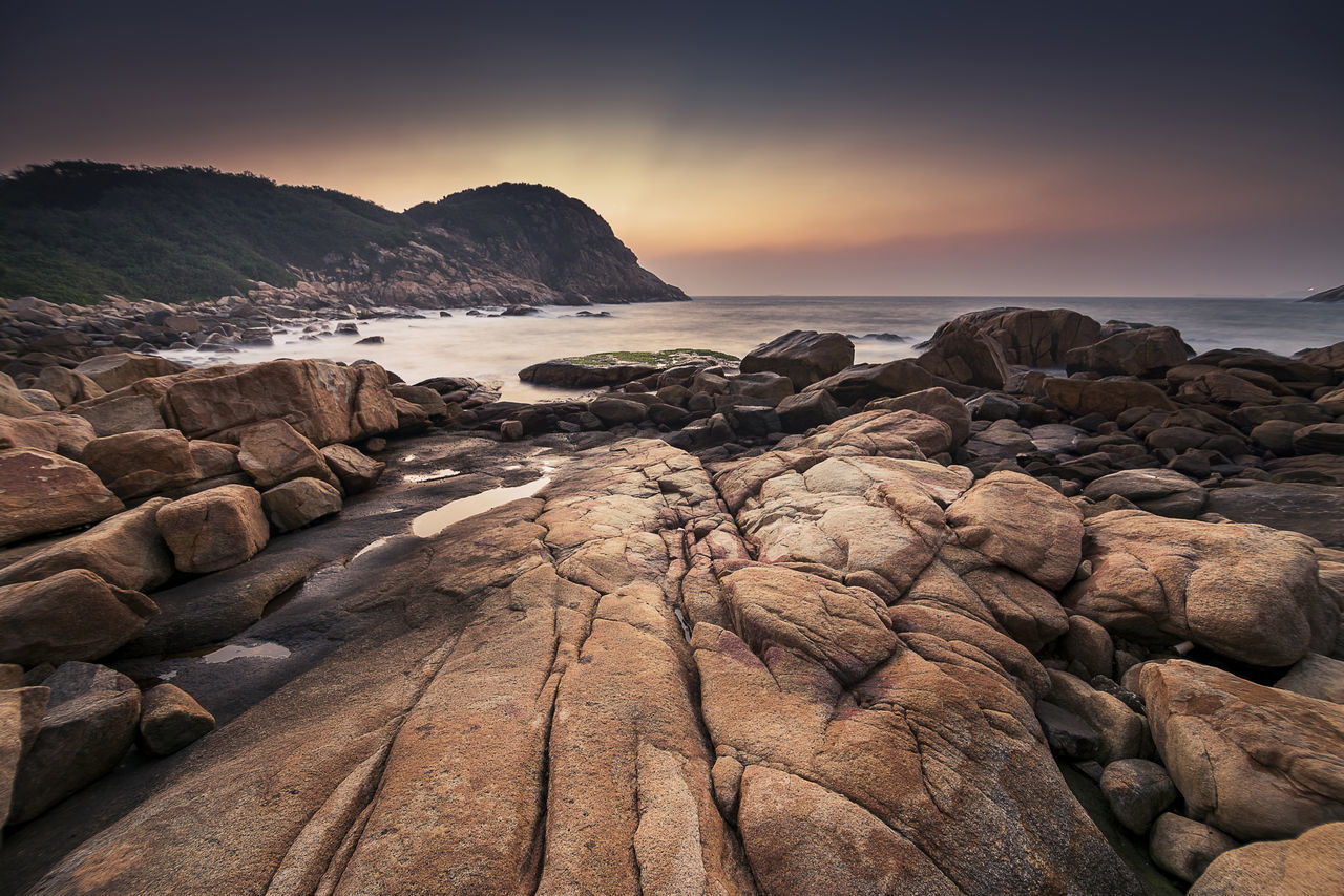 Dawn over a beach Beach Dawn Hong Kong Landscape New Day Ocean Sea Shek O Wall Paper Water Wave