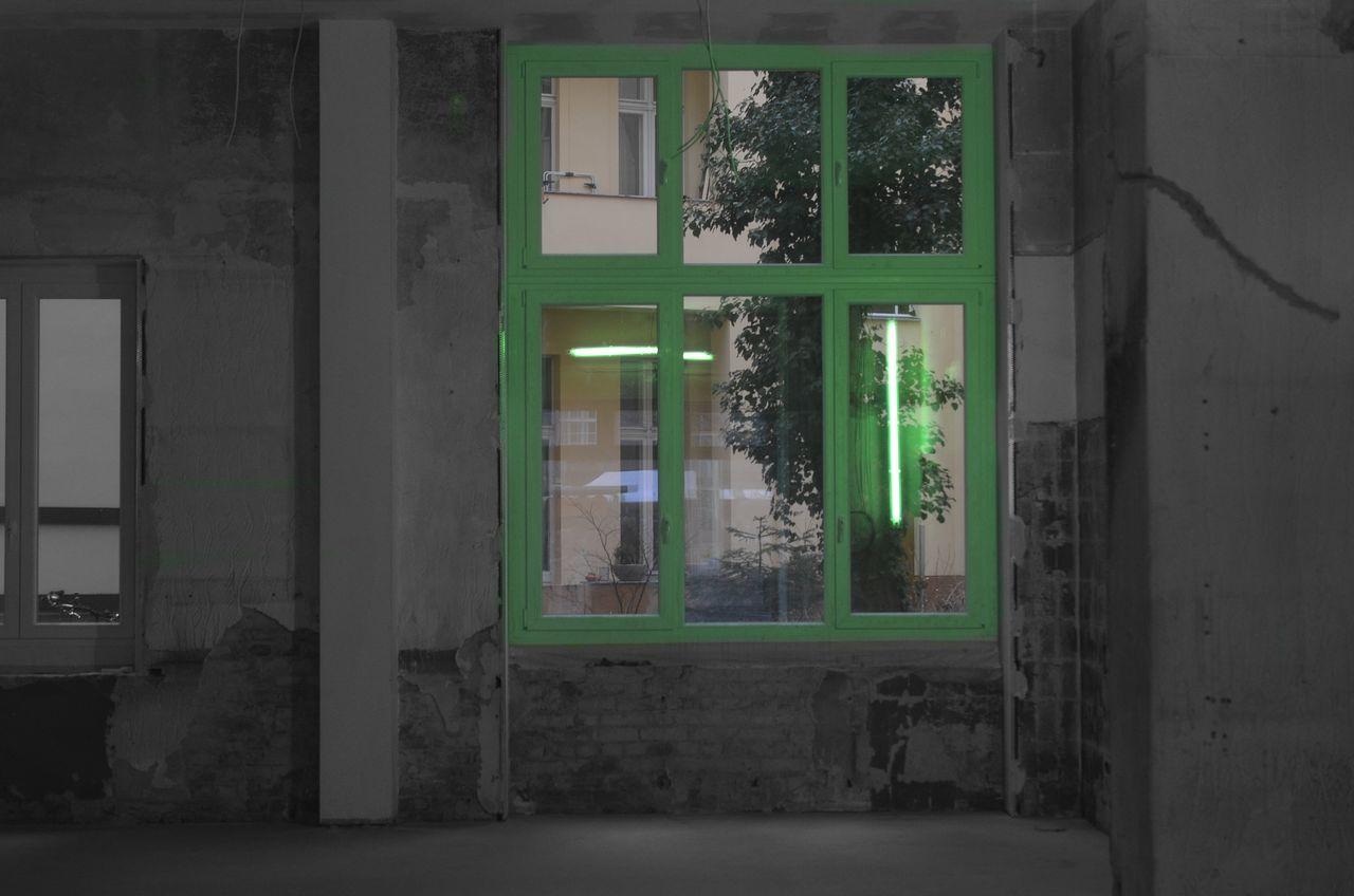 Behind The Window Green Glass Indoors  No People Architecture Green Color Window Blackwhitecolour Reflection Reflection Photography Windowreflections Neon Lights