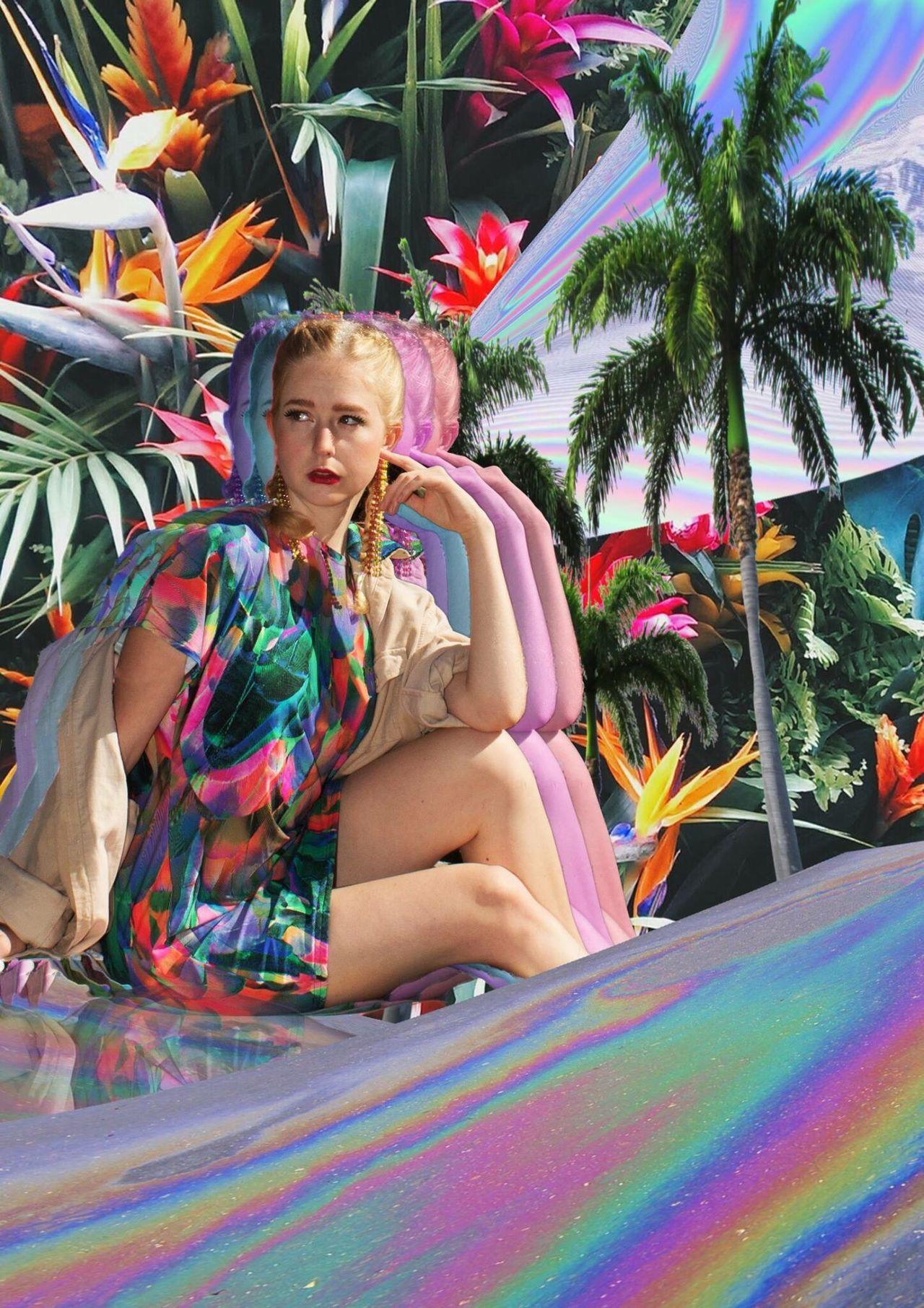 EyeEmNewHere Multi Colored One Person Palm Tree Beautiful Woman Portrait Full Length Sitting Fashion