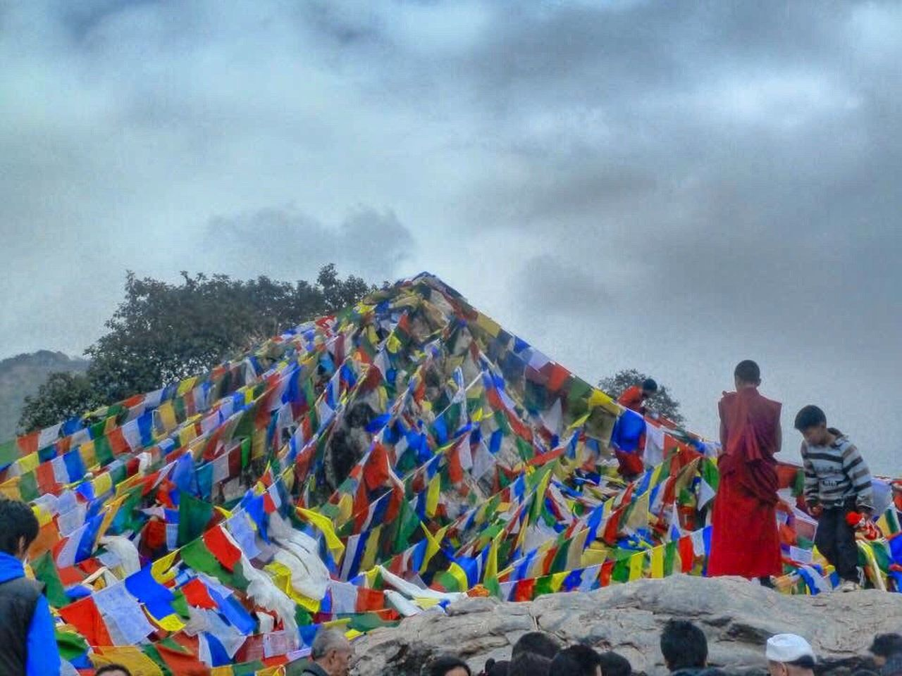 Beautifully Organized Multi Colored Sky Real People Cloud - Sky Outdoors Nature Buddhism Buddhist Temple Buddhist Monks Mountain Prayer Flags  India Travel