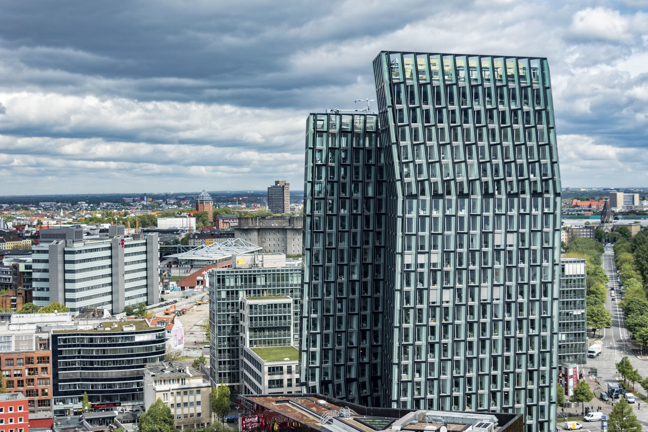 Dancing towers Architecture Building Exterior Built Structure City Cityscape Cloud - Sky Dancing Towers/St. Pauli Day Hamburg Modern Modern No People Outdoors Reeperbahn  Sky Skyscraper St. Pauli Tree