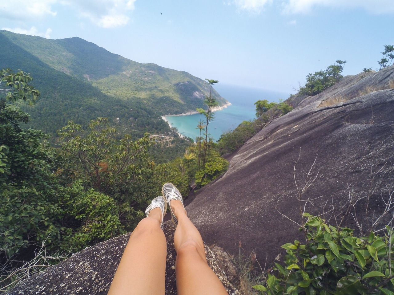 Low Section Human Leg Personal Perspective One Person Real People Human Foot Mountain Travel Destinations Nature Beauty In Nature Hiking Athleisure Shoes Rock - Object Rock Formation Beautiful View Human Body Part Women Outdoors Lifestyles Koh Phangan Tree Plant Scenics