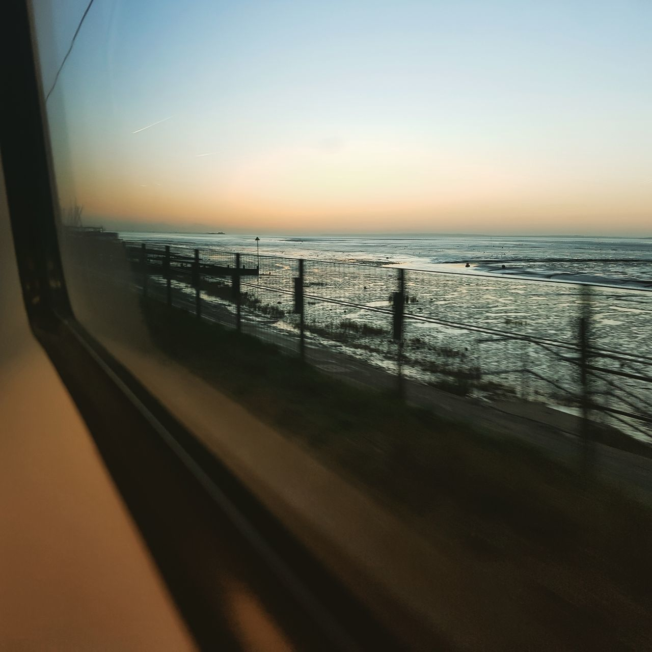 Sea Horizon Over Water Water Sky Beach Outdoors No People View From The Train Southend On Sea Transportation