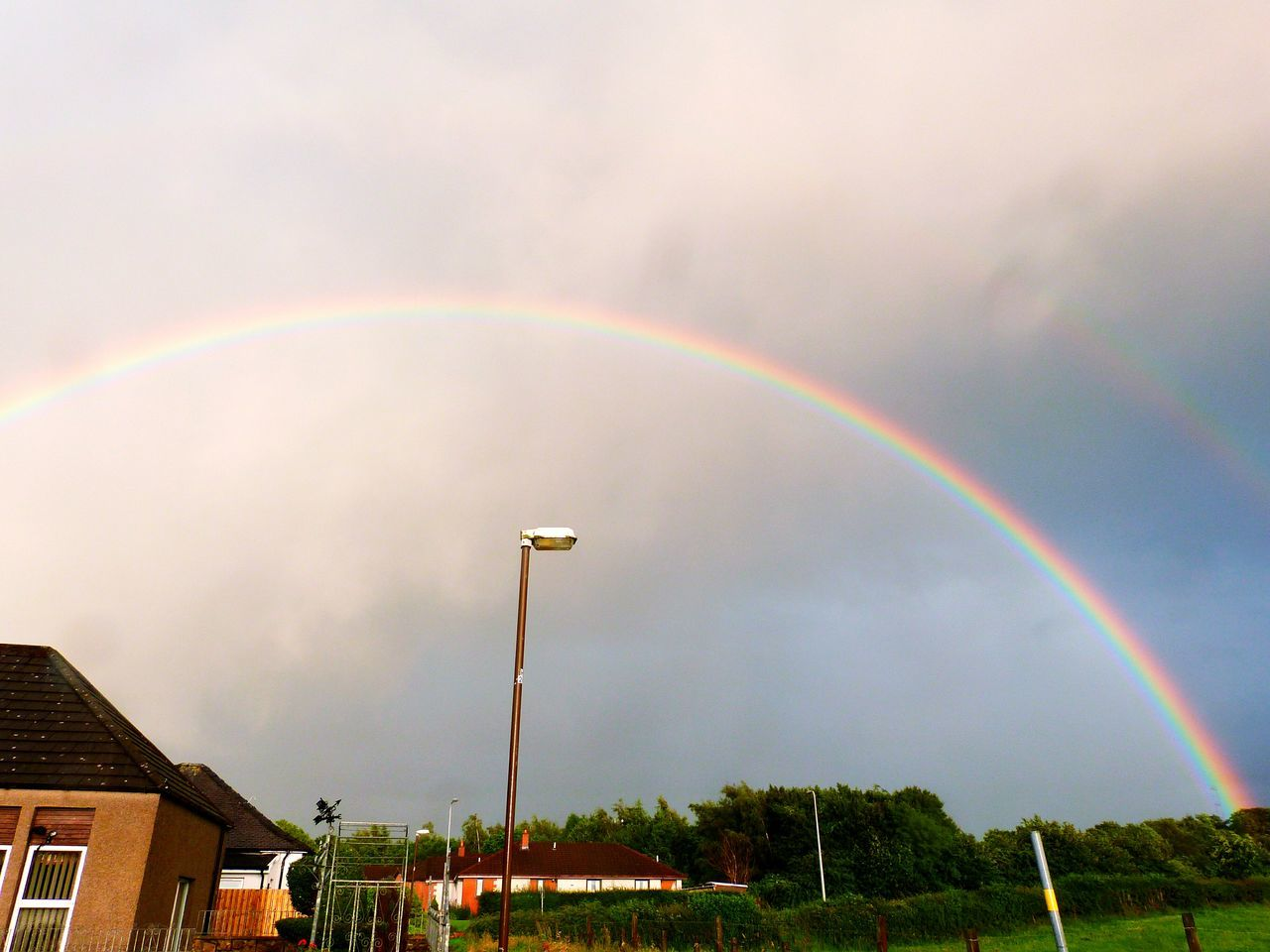 Crazy double rainbow Scotland Countryside Double Rainbow Rainbow Beautiful Beautiful Nature Beautiful Sky Pretty Village Village Life