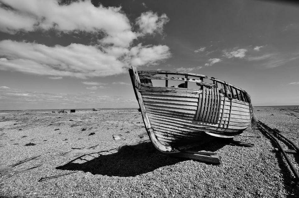 Beach Boat Cloud - Sky Fishermanslife Fishing Boat No People Old Boat Seaside Shadow And Light Wood - Material Deserted Places Deserted Dungeness Desolate Forgotten Places  Coastal Pebble Beach Fishing Boats Wooden Texture