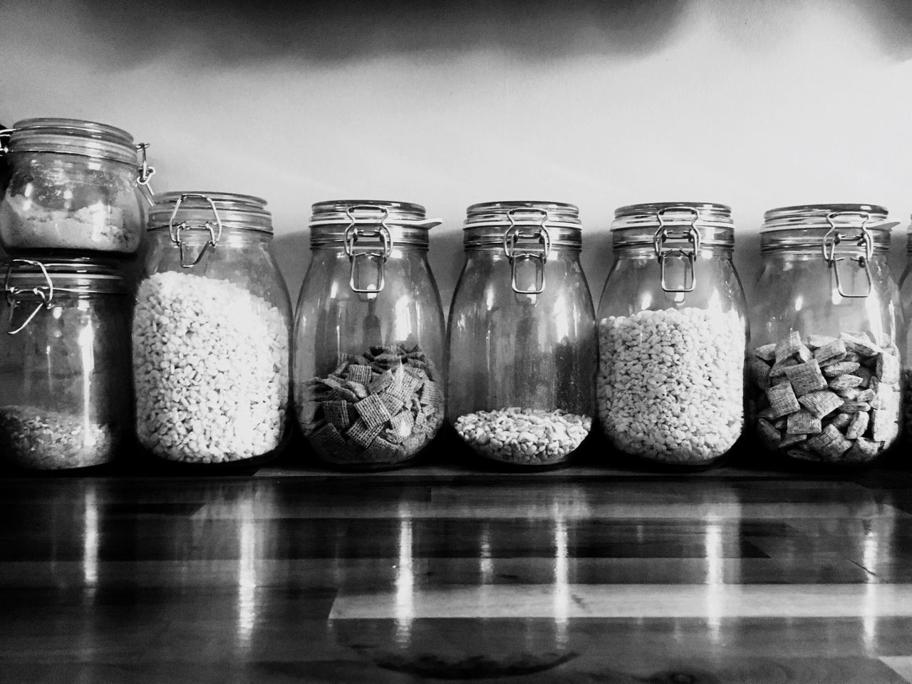 Healthy food in large jars in black and white Pulses Black And White Black & White Jar Jars  Pasta