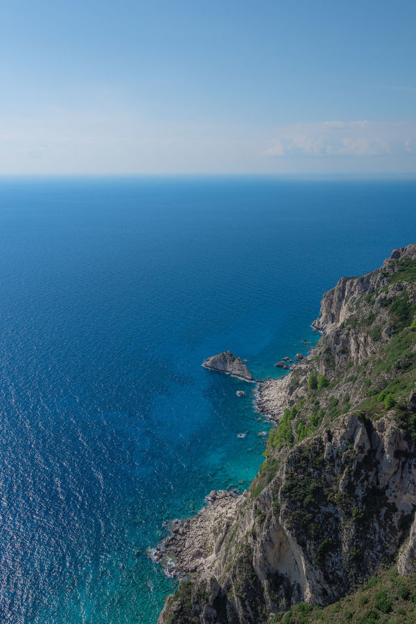 Angelokastro Beauty In Nature Blue Cliff Corfu Day High Angle View Holiday Horizon Over Water Landscape Mediterranean  Nature No People Outdoors Rocks And Water Scenics Sea Shades Of Blue Sky Spectacular Steep Tranquility Travel Destinations Vacation Water