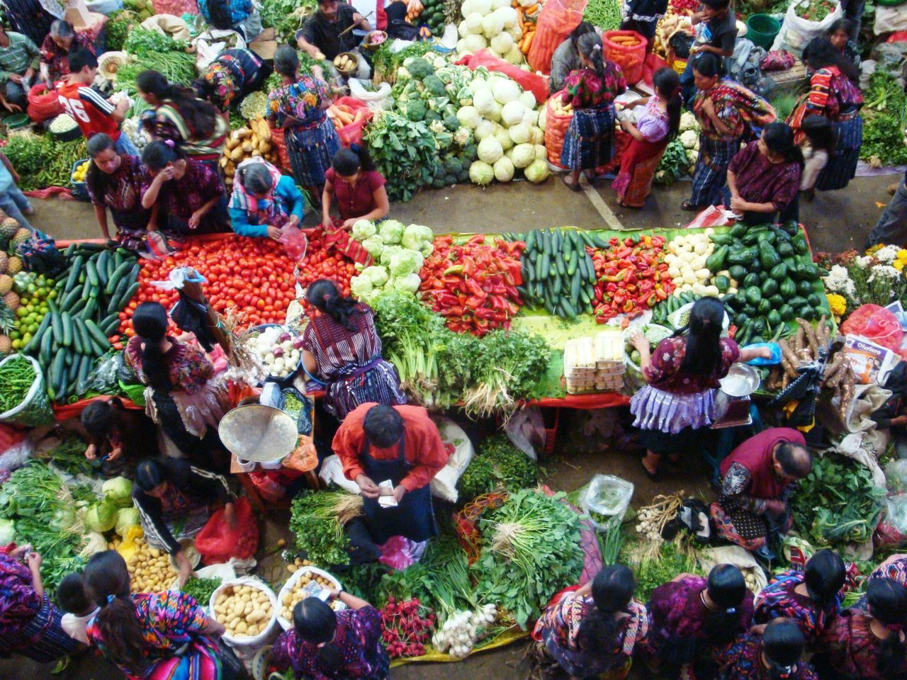 Vegetable Marketplace Chichicastenango Market Scene Guatemala