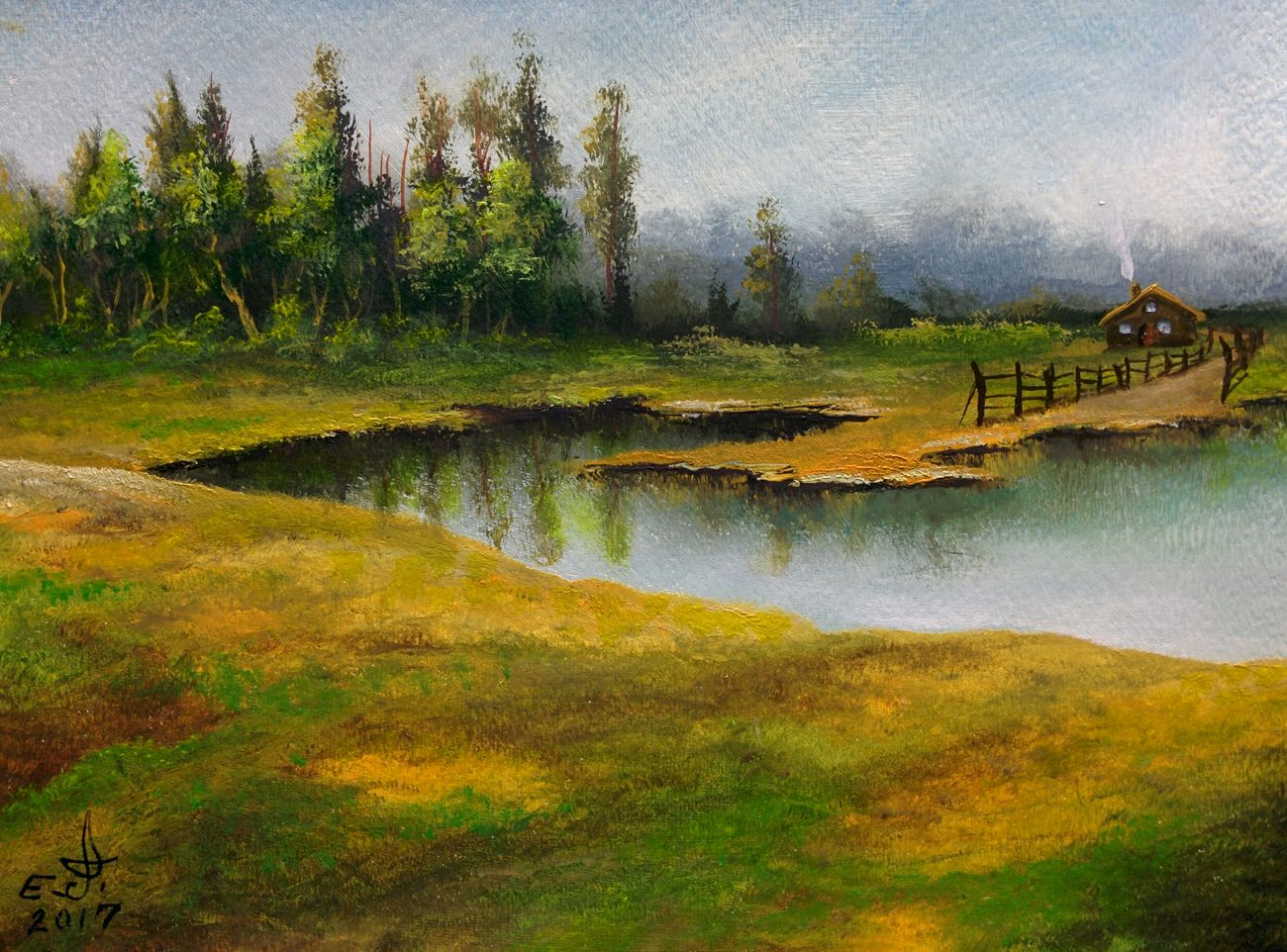 "The little house by the lake,oil on canvas 14""_20"", Nature Scenics Lake House  Beauty In Nature Sky My Landscape Collection. Art Art, Drawing, Creativity Fine Art ArtWork Oil Painting Drawing My Art Collection Plant Tree Original Art My Bestfriend ❤ Love♥ Friendship. ♡   Vilagale with My Best Friends ❤"