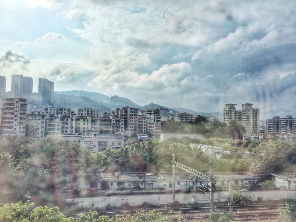 Shenzhen China Hello World Urban Landscape Architecture Colour Of Life IPhoneography City On The Train Reflection