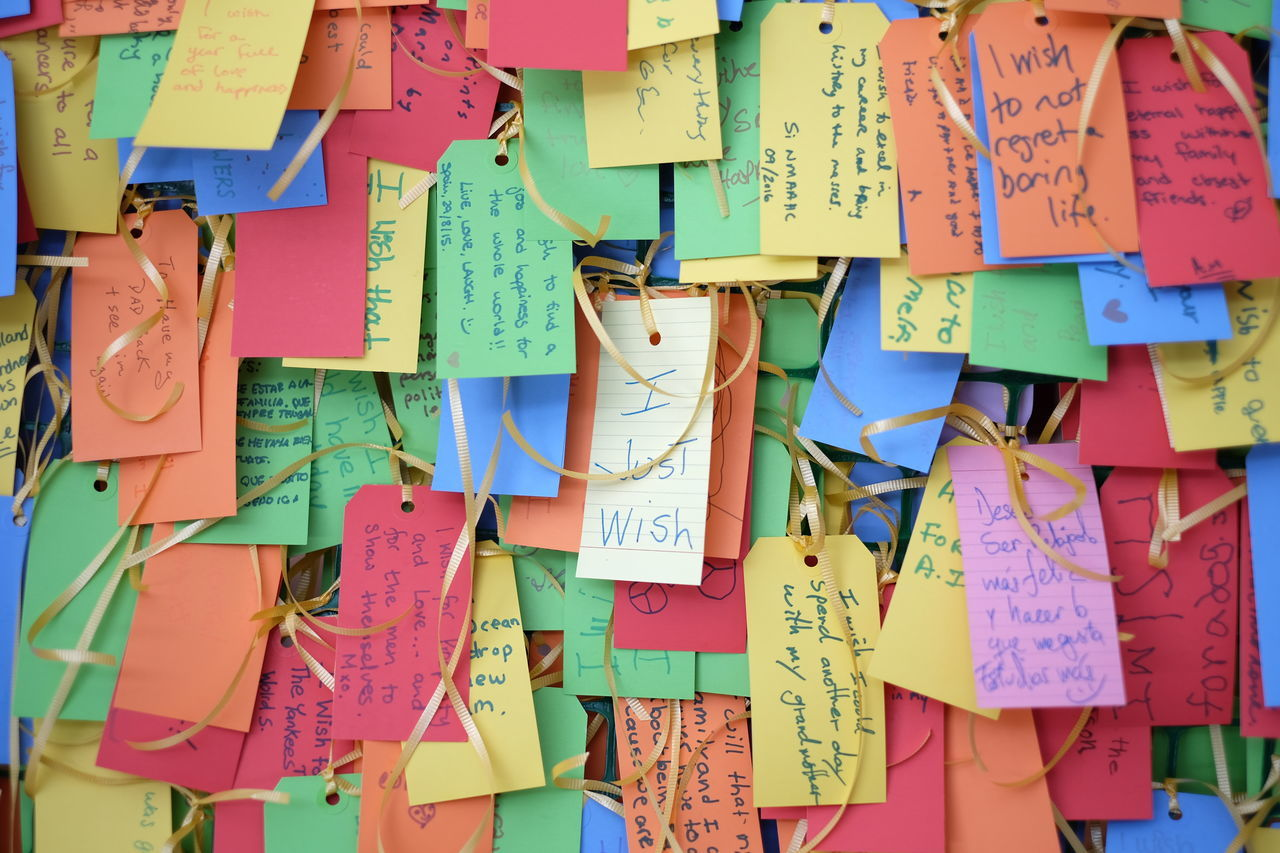 multi colored, text, adhesive note, hanging, paper, message, abundance, note, large group of objects, communication, variation, hope, no people, reminder, close-up, day, outdoors