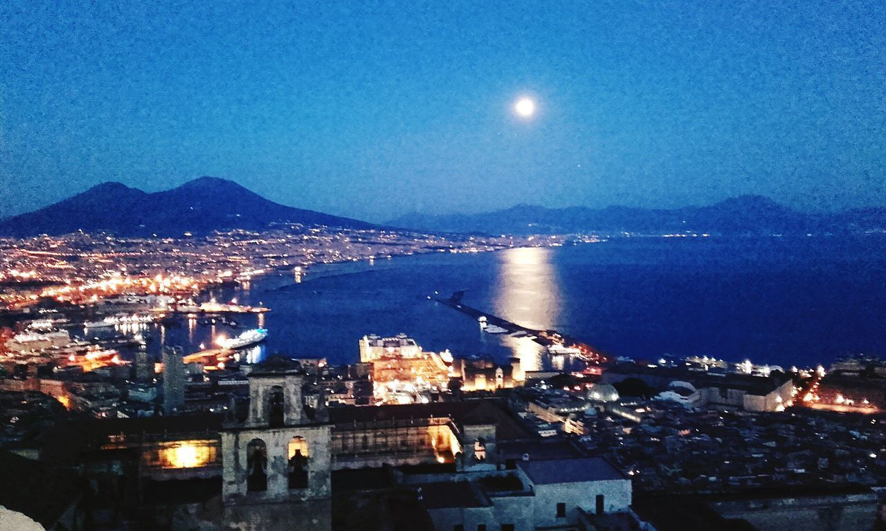 Il Golfo di Napoli e il Vesuvio Naples, Italy Vesuvio Golfo Di Napoli Night Lights Seascape Sea And Sky Moonlight Moon Moonshine Outdoor Photography Outdoors Outdoor