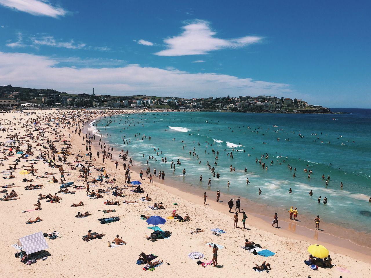 Sea Beach Water Sky Sand Outdoors Scenics Shore High Angle View Coastline Travel Destinations Vacations Day Bondi Beach Sydney Australia
