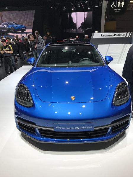 Porsche Panamera at Paris Motor Show Indoors  IPhoneography MondialAuto Panamera Parismotorshow Porsche Sedan Speed
